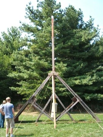 Image: Side view of a 12 foot tall trebuchet that I built with my grandfather during college.